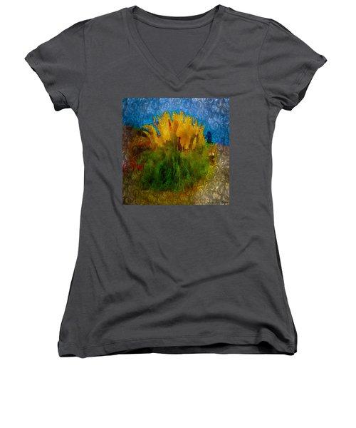 Pampas Grass Women's V-Neck T-Shirt (Junior Cut) by Iowan Stone-Flowers