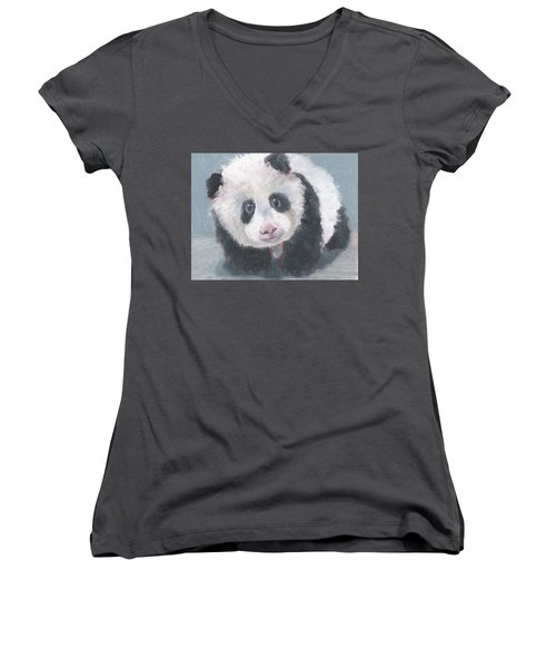 Women's V-Neck T-Shirt (Junior Cut) featuring the painting Panda For Panda by Jessmyne Stephenson