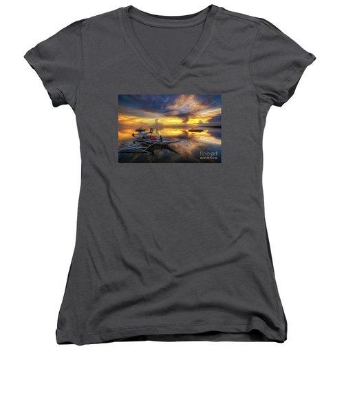 Women's V-Neck T-Shirt (Junior Cut) featuring the photograph Panglao Port Sunset 10.0 by Yhun Suarez