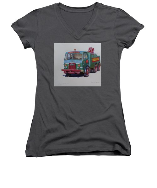 Women's V-Neck T-Shirt (Junior Cut) featuring the painting Pannell Leyland Wrecker. by Mike Jeffries