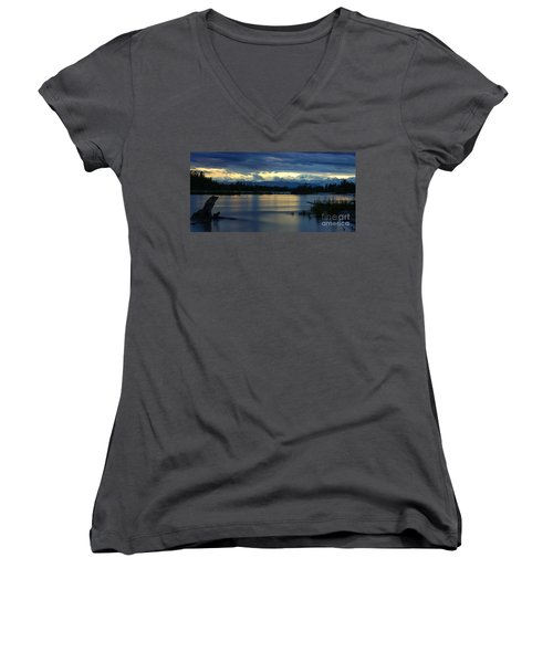 Pano Alaska Midnight Sunset Women's V-Neck T-Shirt (Junior Cut) by Jennifer White