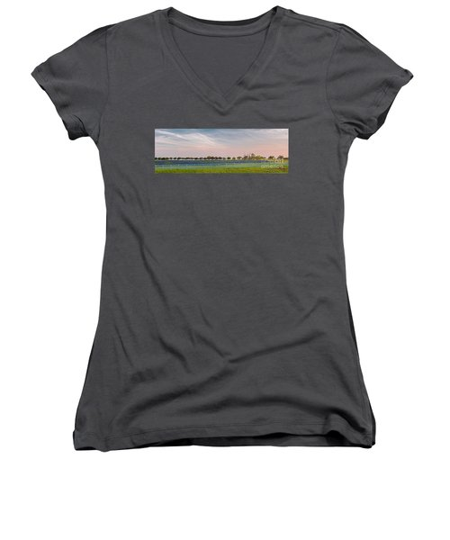 Panorama Of A Bluebonnet Field In Chappell Hill Washington County - Brenham Texas Women's V-Neck (Athletic Fit)