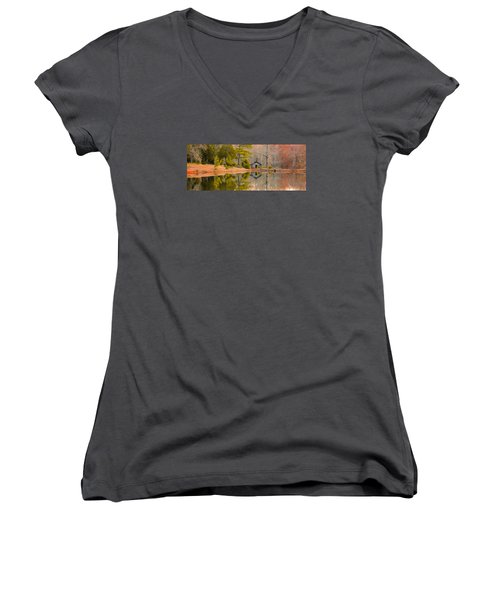 Panorama Of Cabin By The Lake Women's V-Neck T-Shirt (Junior Cut) by Shelby  Young