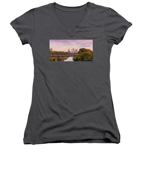 Panorama Of Downtown Houston Skyline From Studemont Drive - Buffalo Bayou Park Houston Texas Women's V-Neck