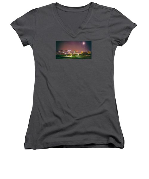 Panorama Of The Seventh Street Bridge And Downtown Fort Worth With Full Moon Above - Trinity River Women's V-Neck (Athletic Fit)