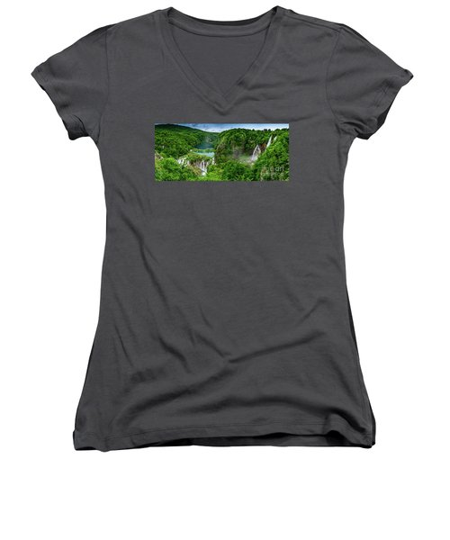 Panorama Of Turquoise Lakes And Waterfalls - A Dramatic View, Plitivice Lakes National Park Croatia Women's V-Neck