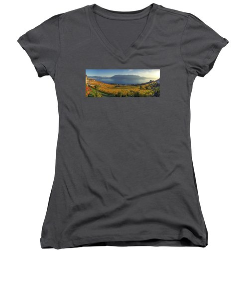 Panorama On Lavaux Region, Vaud, Switzerland Women's V-Neck T-Shirt