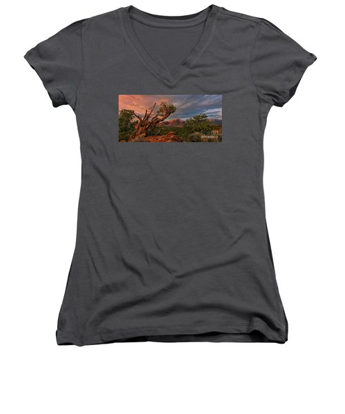 Women's V-Neck featuring the photograph Panorama Storm Back Of Zion Near Hurricane Utah by Dave Welling