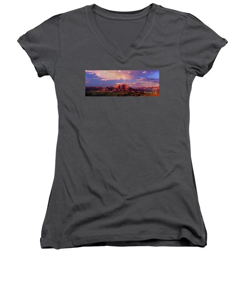 Women's V-Neck featuring the photograph Panorama West Temple At Sunset Zion Natonal Park by Dave Welling