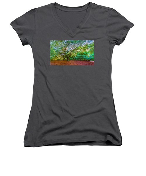 Panoramic Angel Oak Tree Charleston Sc Women's V-Neck