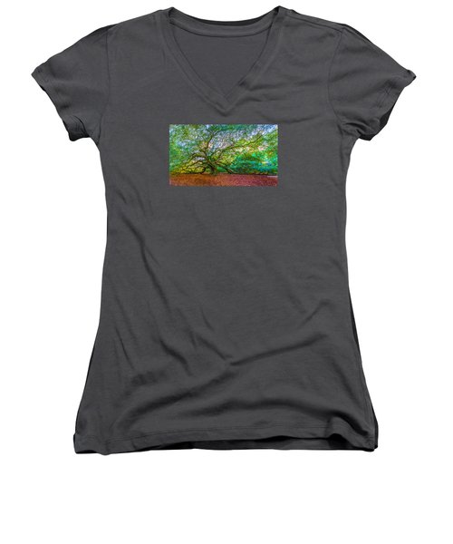 Panoramic Angel Oak Tree Charleston Sc Women's V-Neck T-Shirt (Junior Cut)