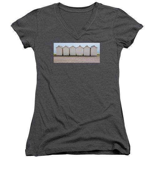 Panoramic Beach Huts Women's V-Neck T-Shirt (Junior Cut) by Helen Northcott