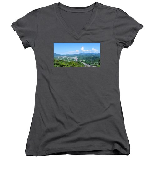 Women's V-Neck T-Shirt (Junior Cut) featuring the photograph Panoramic View Of Southern Taiwan by Yali Shi