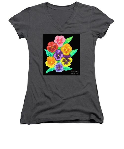 Pansies On Black Women's V-Neck T-Shirt (Junior Cut) by Irina Afonskaya