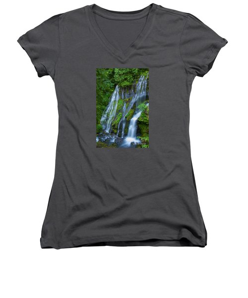 Panther Creek Falls Summer Waterfall 1 Women's V-Neck (Athletic Fit)