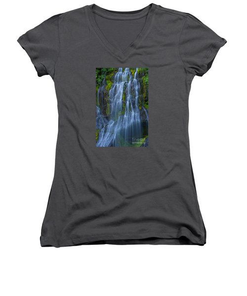 Panther Creek Falls Summer Waterfall -close 2 Women's V-Neck (Athletic Fit)