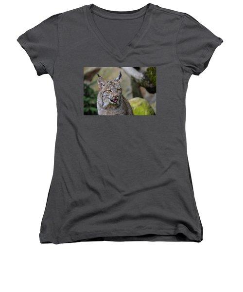 Panting Lynx Women's V-Neck