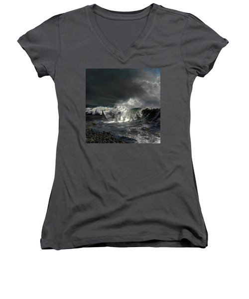 Women's V-Neck T-Shirt (Junior Cut) featuring the digital art Paper Boat by Evgeniy Lankin