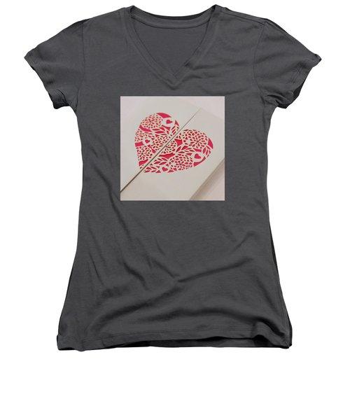Paper Cut Heart Women's V-Neck T-Shirt