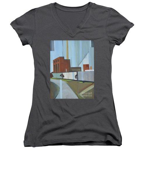 Paperboard Factory Bogota Nj Women's V-Neck T-Shirt (Junior Cut) by Ron Erickson