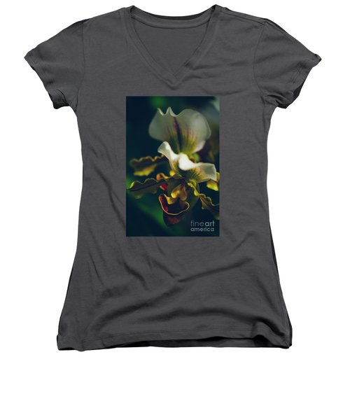 Women's V-Neck T-Shirt (Junior Cut) featuring the photograph Paphiopedilum Villosum Orchid Lady Slipper by Sharon Mau