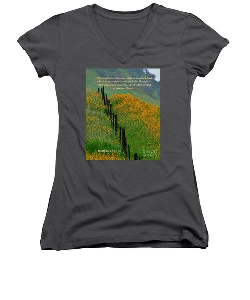 Women's V-Neck T-Shirt (Junior Cut) featuring the photograph Parable Of The Mustard Seed by Debby Pueschel