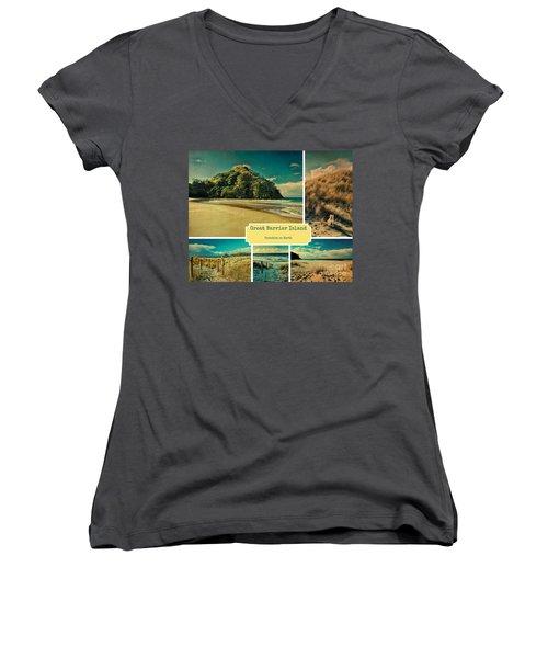 Paradise At The Barrier Women's V-Neck T-Shirt (Junior Cut) by Karen Lewis