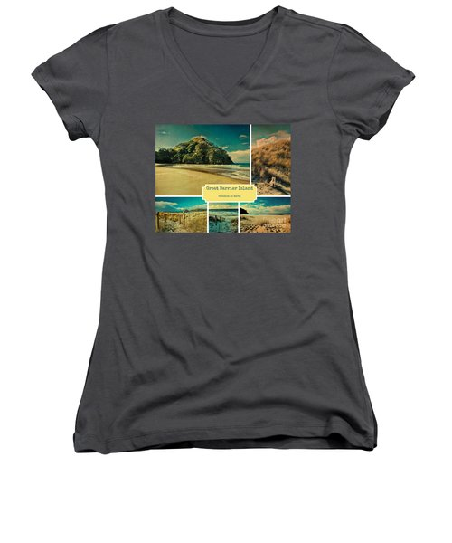 Paradise At The Barrier Women's V-Neck T-Shirt