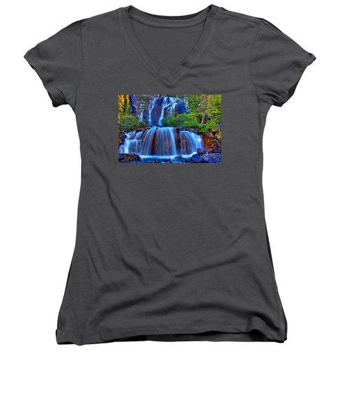 Paradise Falls Women's V-Neck T-Shirt (Junior Cut) by Scott Mahon