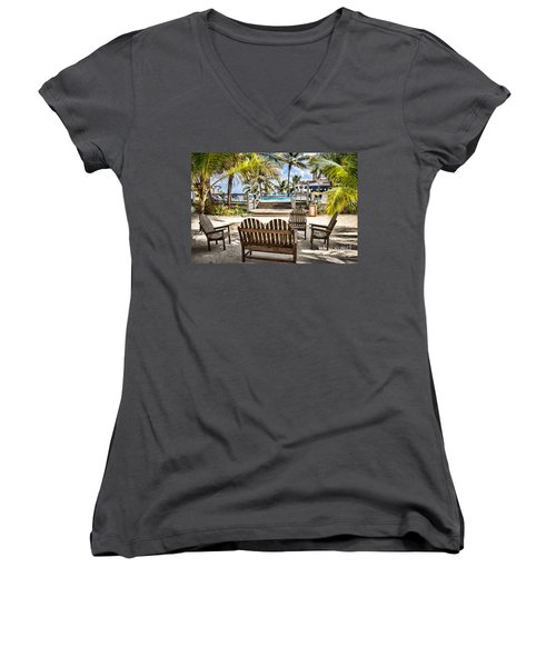 Women's V-Neck T-Shirt (Junior Cut) featuring the photograph Paradise by Lawrence Burry