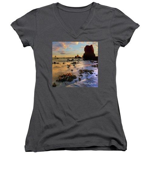 Paradise On Earth Women's V-Neck T-Shirt (Junior Cut) by Tim Fitzharris