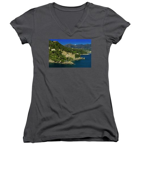 Paraggi Bay Castle And Liguria Mountains Portofino Park  Women's V-Neck (Athletic Fit)
