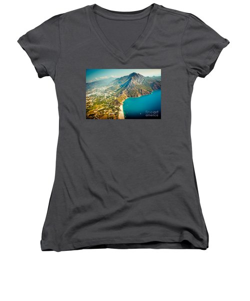 Paragliding Fly Above Laguna Artmif.lv Women's V-Neck