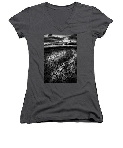 Women's V-Neck T-Shirt (Junior Cut) featuring the photograph Parched Prairie by Dan Jurak