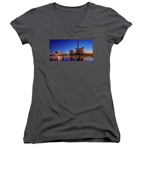 Paris Casino At Dawn 2 To 1 Ratio Women's V-Neck (Athletic Fit)
