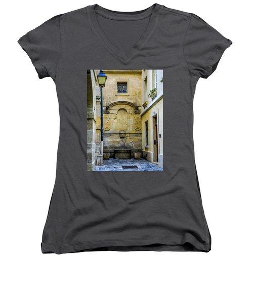 Women's V-Neck T-Shirt (Junior Cut) featuring the photograph Paris Corner Le Marais by Sally Ross