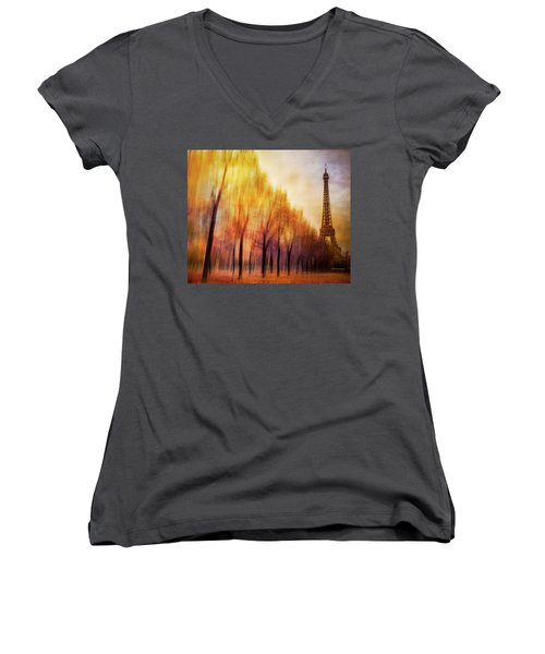 Paris In Autumn Women's V-Neck T-Shirt (Junior Cut) by Marty Garland