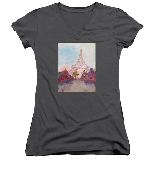 Paris In Pastel Women's V-Neck T-Shirt (Junior Cut) by Roxy Rich
