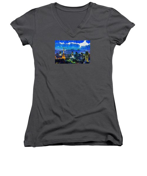 Paris Inside Tokyo Women's V-Neck T-Shirt (Junior Cut) by Sir Josef - Social Critic - ART