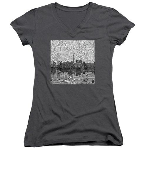 Women's V-Neck T-Shirt (Junior Cut) featuring the painting Paris Skyline Black And White by Bekim Art