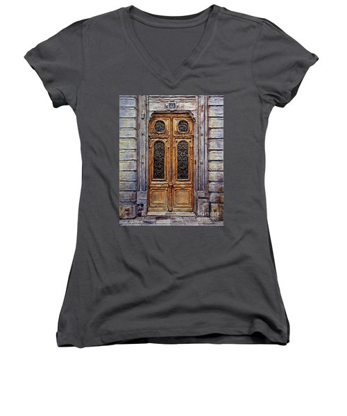 Women's V-Neck T-Shirt (Junior Cut) featuring the painting Parisian Door No. 15 by Joey Agbayani