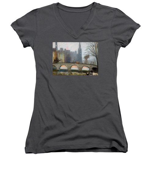 Women's V-Neck T-Shirt (Junior Cut) featuring the painting Parisian Gray by Gary Coleman
