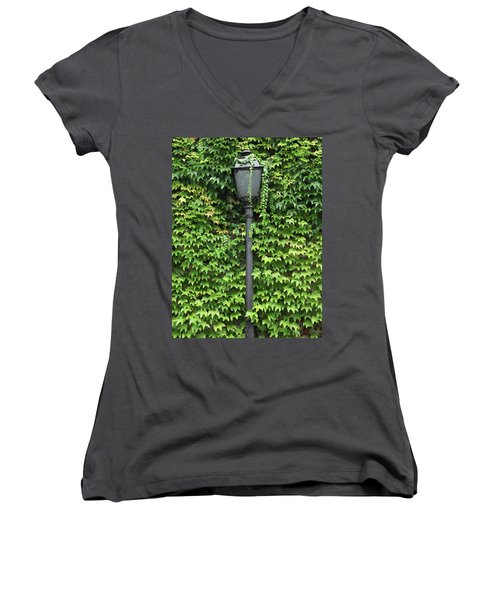 Parisian Lamp And Ivy Women's V-Neck T-Shirt (Junior Cut) by Yoel Koskas