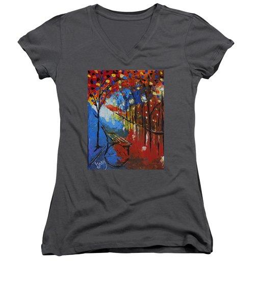 Park Bench Women's V-Neck T-Shirt (Junior Cut) by Gary Smith