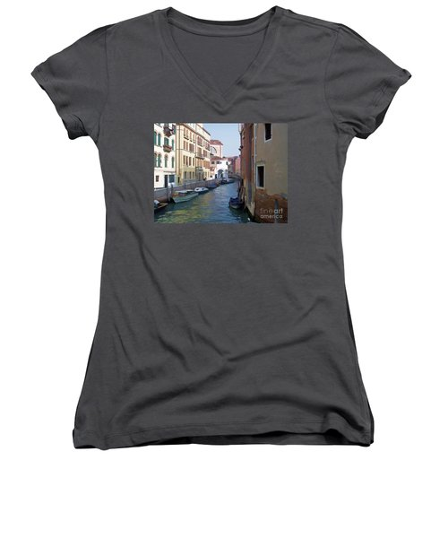 Women's V-Neck T-Shirt (Junior Cut) featuring the photograph Parked In Venice by Roberta Byram
