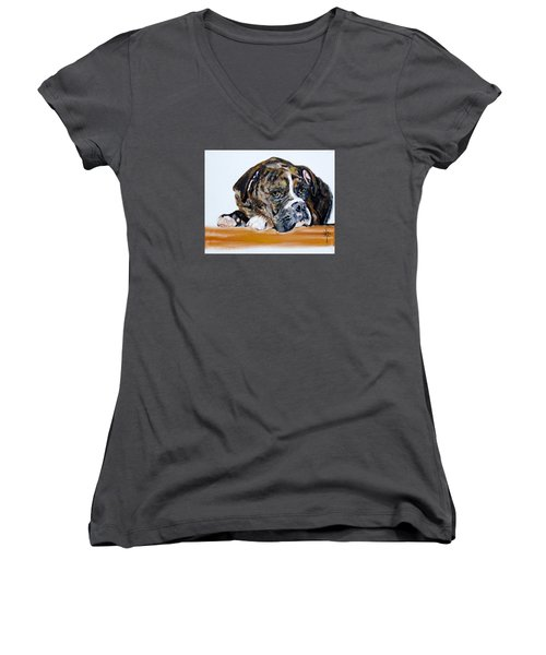 Parker  Women's V-Neck T-Shirt (Junior Cut) by Jodie Marie Anne Richardson Traugott          aka jm-ART