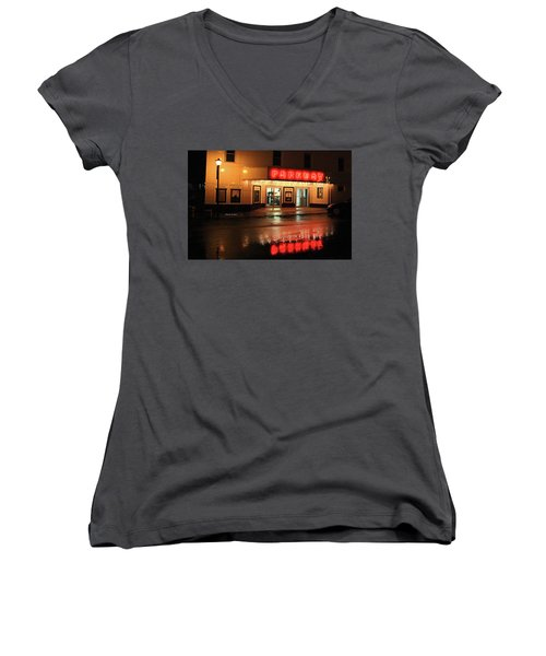 Parkway Night Women's V-Neck T-Shirt (Junior Cut) by Dale R Carlson