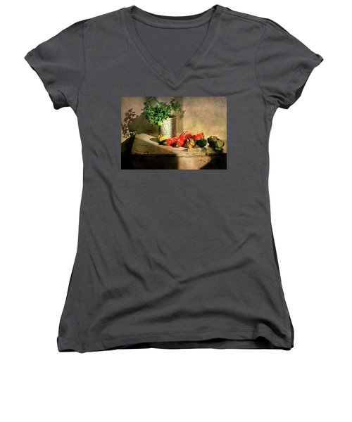Women's V-Neck T-Shirt (Junior Cut) featuring the photograph Parsley And Peppers by Diana Angstadt