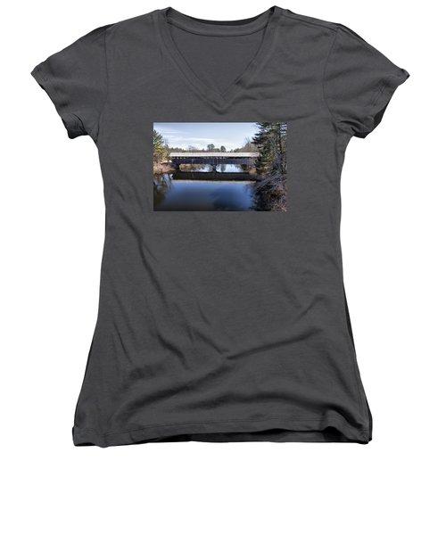Parsonfield Porter Covered Bridge Women's V-Neck T-Shirt (Junior Cut) by Betty Pauwels