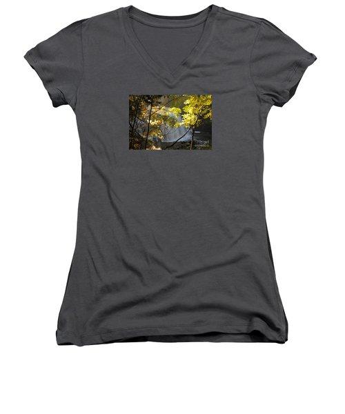 Women's V-Neck T-Shirt (Junior Cut) featuring the photograph Partridge Falls II by Sandra Updyke